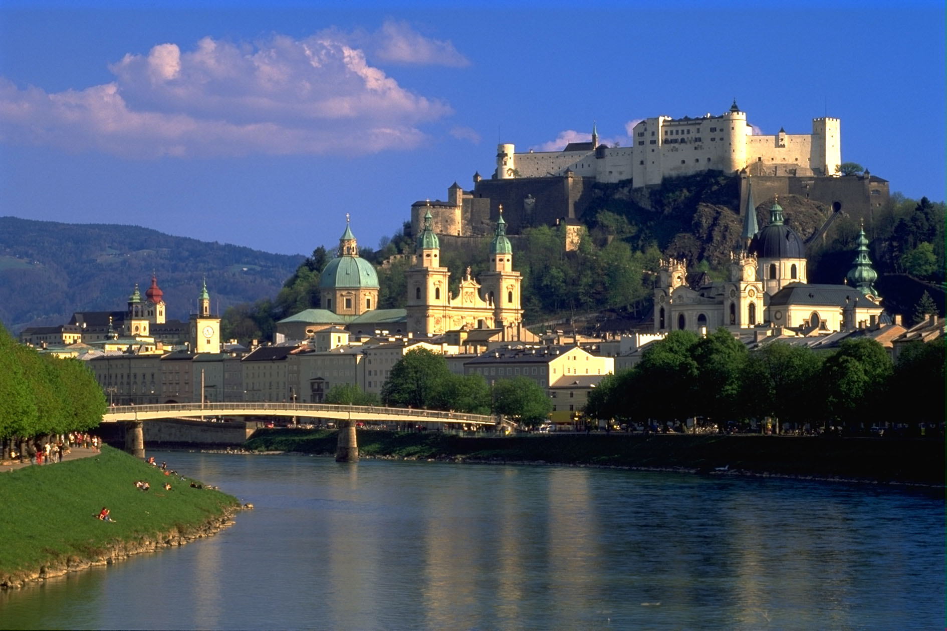 SALZBURG: VIEW FROM THE RIVER SALZACH