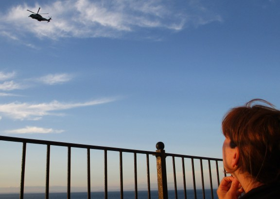 Helicopter watching from Ocean Breeze, Ilfracombe